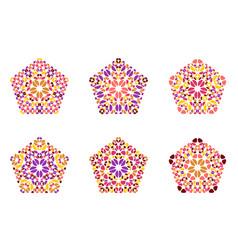 Ornate colorful geometrical flower pentagon vector