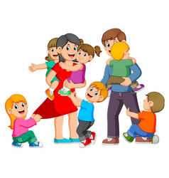 parents are playing with their children vector image