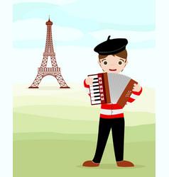 parisian and tour eiffel vector image