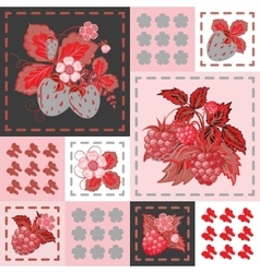 Patchwork background with strawberries and vector