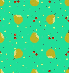 Pear and cherry seamless pattern vector image