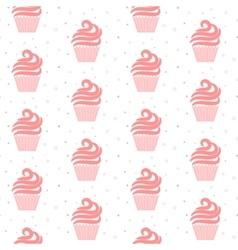 Pink cupcake seamless pattern Sweet cake texture vector image