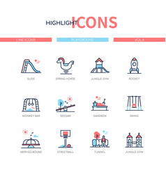 playground elements - line design style icons set vector image