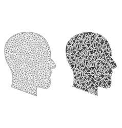 Polygonal 2d mesh gentleman profile and mosaic vector