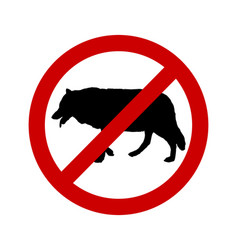 Prohibition sign for wolves on white vector