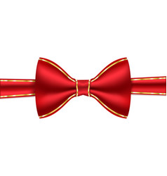 red bow tie with golden frame stitching vector image