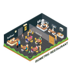 restaurant isometric artwork concept vector image