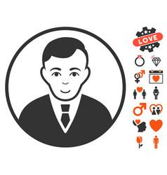 Rounded gentleman icon with love bonus vector