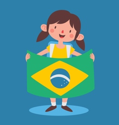 School Girl Holding a Brazilian Flag vector