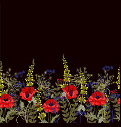 Seamless border with poppies and leaves vector