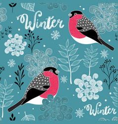 Seamless winter pattern of frozen forest and birds vector