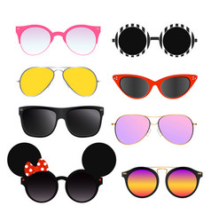set colorful sunglasses vector image