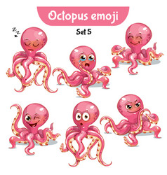 Set of cute octopus characters set 5 vector