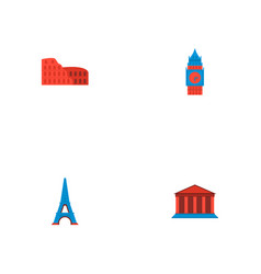set of landmarks icons flat style symbols with big vector image