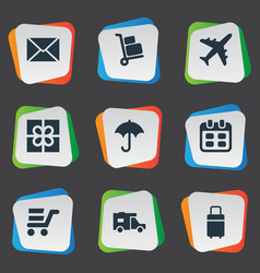 Set of simple conveyance icons vector
