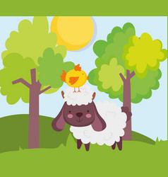 Sheep with chick in head trees sun grass farm vector