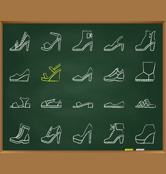 shoes chalk draw grunge line icons set vector image