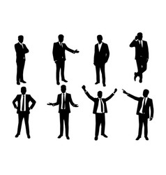 Silhouette set of businessman in action vector