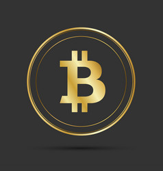 Simple bitcoin icon isolated on grey background vector