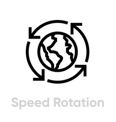 Speed globe rotation flat icon editable line vector