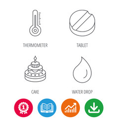 Thermometer water drop and tablet icons vector