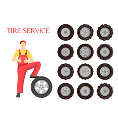 Tire service poster worker vector