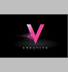 V letter logo with dispersion effect and purple vector