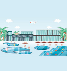 Vacations place with pool scene travel vector