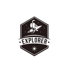 vintage explorer space astronaut mascot logo icon vector image