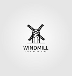 windmill logo line art minimalist graphic design vector image