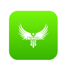 winner wing icon green vector image