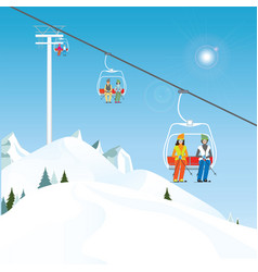 winter ski resort with skiers on a ski-lift vector image