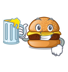 With juice cheese burger located on plate cartoon vector