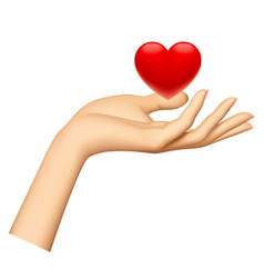 Womans hand with a red heart isolated on white vector