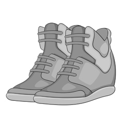 Women autumn sneakers icon gray monochrome style vector