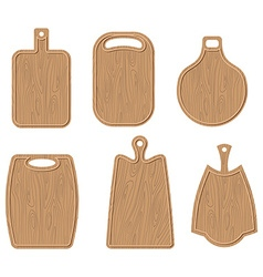 Wooden cutting board set Kitchen cutting board vector