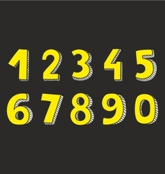 Yellow numbers isolated on black background vector image