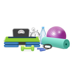 yoga and fitness equipment realistic vector image