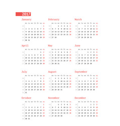 calendar for 2017 year with week numbers on white vector image vector image