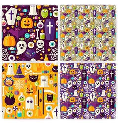 Four Flat Seamless Halloween Party Patterns vector image vector image