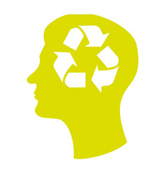 head silhouette with recycling symbol in mind vector image