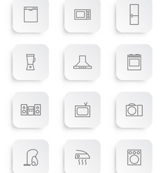 household appliances icons 3 vector image vector image