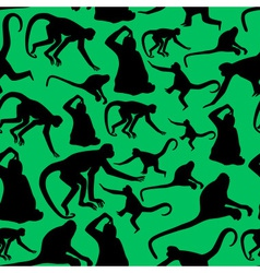 monkey shadows silhouette green and black pattern vector image vector image