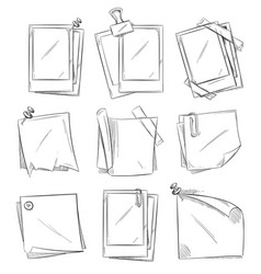 blank vintage photo frames doodle vector image vector image
