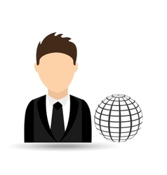 Character man with globe connection technology vector