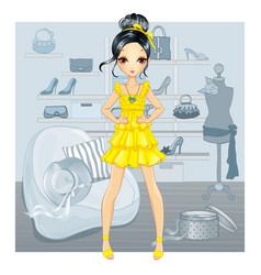 Girl In Yellow Dress Does Shopping vector image vector image