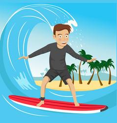 male surfer riding large blue ocean wave vector image