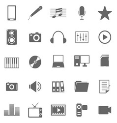 Media icons on white background vector image vector image