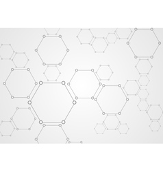 Molecular grey structure abstract tech background vector