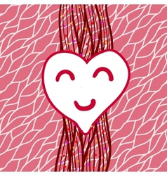 striped background with heart vector image vector image